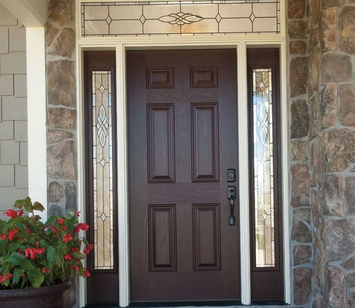 16 Fiberglass Siding Home Design Ideas: Fiberglass Entry Doors With Sidelights And Transom