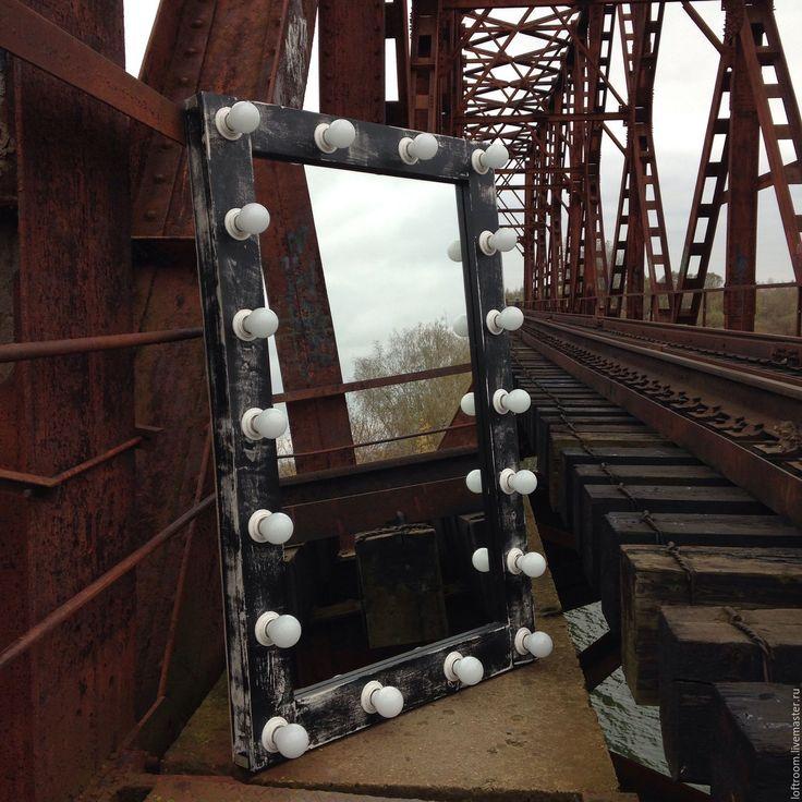 Купить Гримерное зеркало LOFT - черный, гримерка, гримерное зеркало, зеркало, зеркало с лампочками