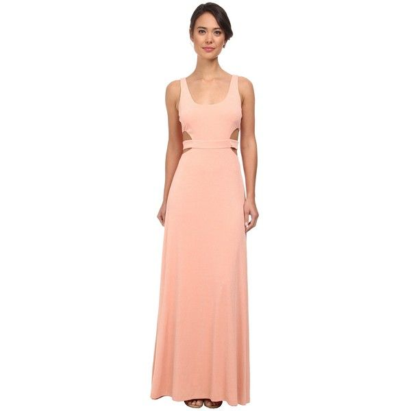 Calvin Klein Coutout Gown CD5B1846 Women's Dress, Orange ($88) ❤ liked on Polyvore featuring dresses, orange, red sparkly dress, red prom dresses, sparkly prom dresses, cocktail dresses and evening dresses