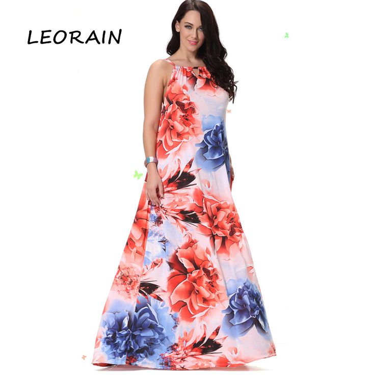 5XL 6XL 2017 New Sleeveless Strapless Vintage Big Swing Plus Size Floor Length Long Flowers Dresses Summer Maxi Dress LEORAIN #Affiliate