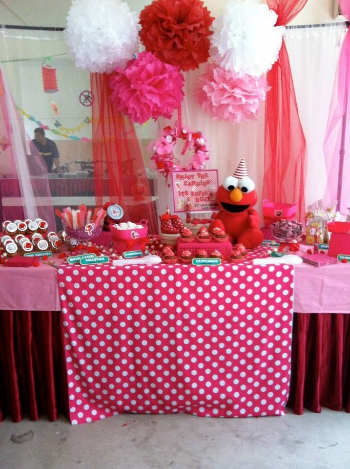 Girly Elmo party love these colors. White. Light pink. Hot pink. And touches of red.