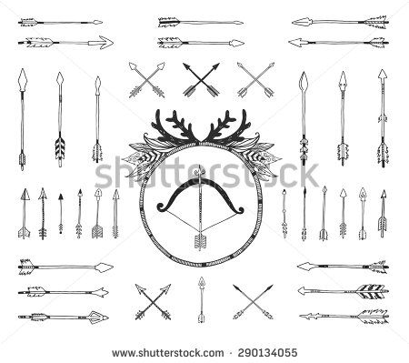 Hand drawn tribal collection with indian arrows, bow and feathers. Vector tribal, ethnic, aztec elements isolated on white background