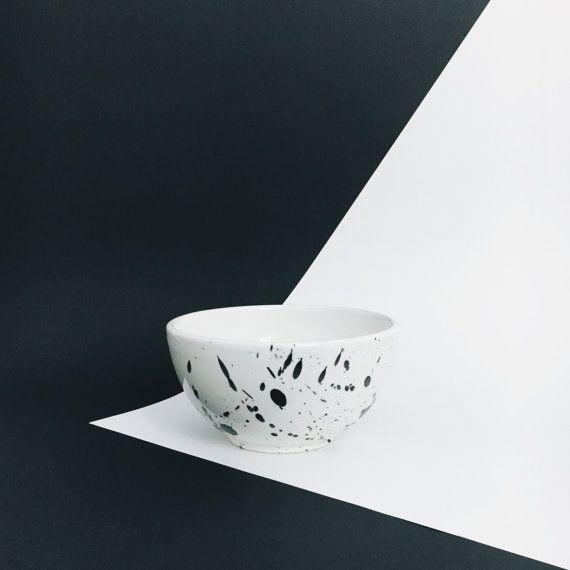 Splatterware cereal bowl handmade ice cream bowl by AmenamenStudio