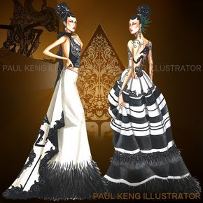 Inspired by Indonesian Wayang Kulit (Shadow Puppets). Fashion Design & Illustration by Paul Keng @paulkengillustrator