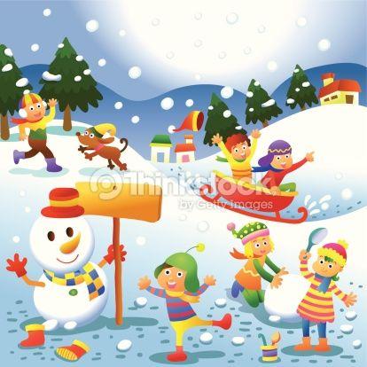 Vector Art : cute kids playing winter games.
