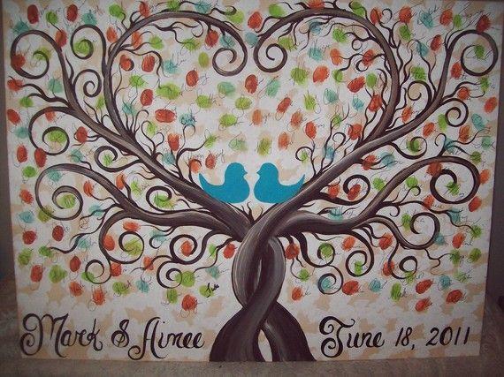 Hochzeit Gast Buch Fingerabdruck Baum...22 x von CottageCreekArts