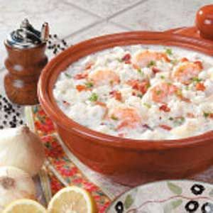 New England Seafood Chowder Recipe (with shrimp, bay scallops & haddock fillets)