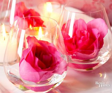 Rosebud Centerpieces-Cute, inexpensive way to decorate!