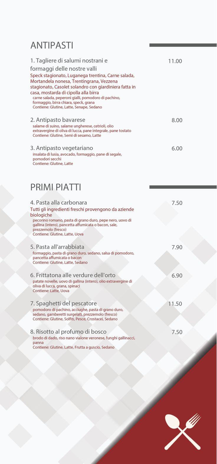 Nuova grafica per le stampe del tuo #menù #myfood Il menù elegante e semplice verticale, grigio e rosso Scopri di più su http://myfood.okkam.it/ #myfoodOK #menuonline #graficamenu #allergeni #ristoranti #pizzeria #bar
