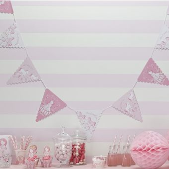 Pink frilly paper bunting which has 14 flags combining our horse and carriage   and princess in pink. 3.5m in length