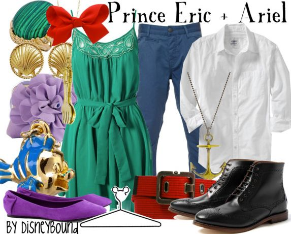 prince eric and ariel... navy pants, white top, red belt, black shoes... teal green dress, purple accessories/cardigan, red bow/accessories