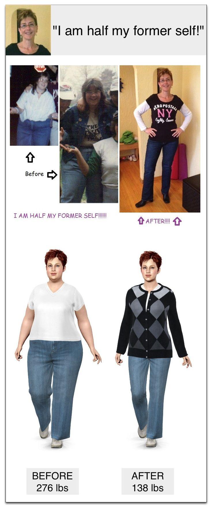 276 lbs > 138 lbs  = 138 lbs LOST!!! I lost half my former self!!!