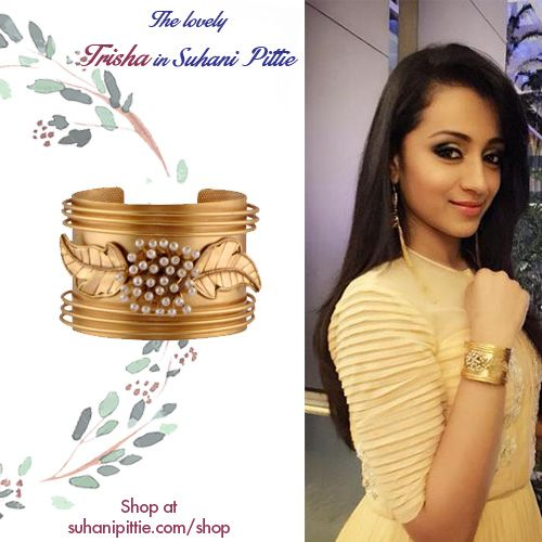 The Lovely Trisha Spells Captivating Charm in our Pearl Flower & Leaves Cuffs at Chiranjeevi's Birthday Bash. Shop @http://www.suhanipittie.com/catalogsearch/result/?q=trisha #TrishaKrishnan #SuhaniPittie #Cuffs #CelebrityJewelry #CelebrityFashion #AutumnWinter2015