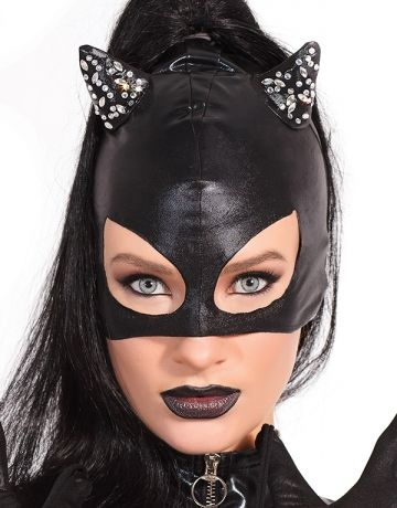 #Coquette #StaySexy   https://www.fifty-6.com/en/catalog/clothing/coquette/darque/cat-mask Cod.: cqd2244 Cat Mask 1PC. Wet look cat mask with rhinestone detail. Color: Black Size: one size