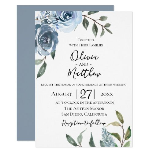 Dusty Blue Botanical Wedding Invitation | Zazzle.com