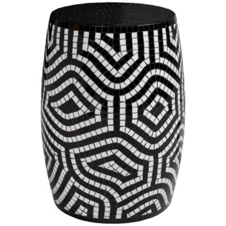Chohan Black and White Mosaic Accent Table - #2X598   LampsPlus.com