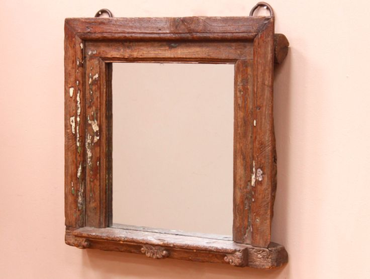 A medium-sized vintage mirror with standing based made from a reclaimed antique teak window frame. #vintage #mirror #unique #furniture #homedecor #homestyle