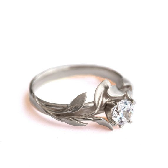 Leaves Engagement Ring No.4 - 18K White Gold and Diamond engagement ring by Doron Merav