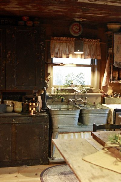 Prim Farmhouse Kitchen...double wash tubs for the sink....not on my radar, but I love the idea.