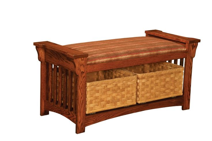 Upholstered Storage Entryway Bench: Details About Amish Mission Slat Solid Wood Bench Entryway