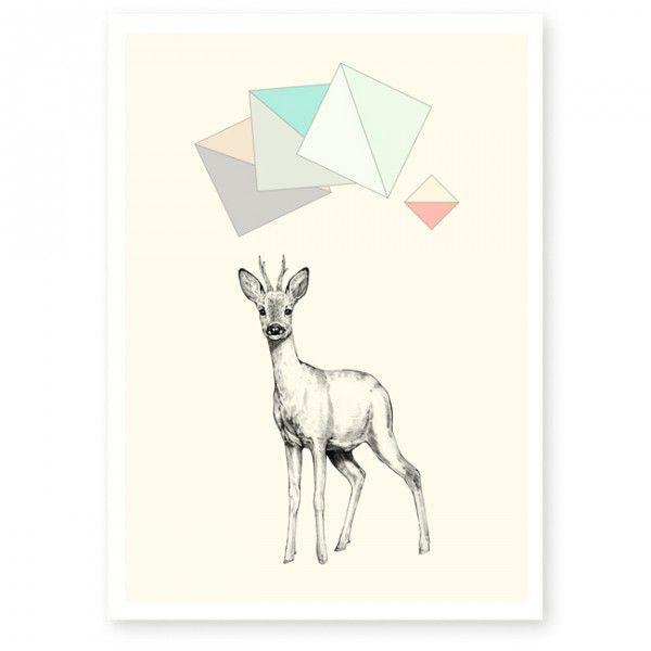 affiche chevreuil en tres beau papier a grain fine art With affiche chambre bébé avec aquarelle livraison fleurs france