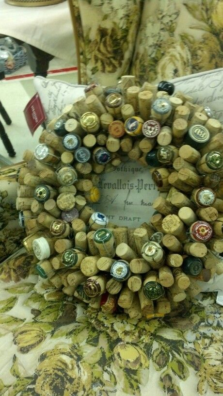 Wreath made with wine bottle corks