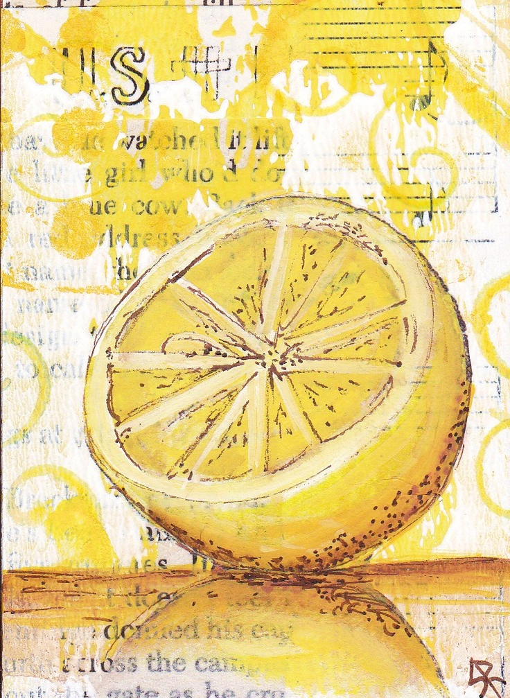 Lemon Yellow ATC...  Idea... Create ATCs with a color in mind. - I love the layering of this with the print as the base.