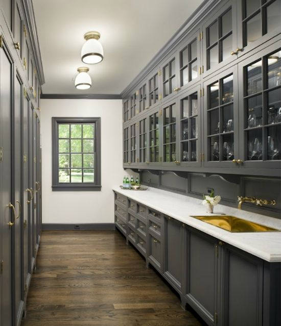 Butler's Pantry, dark grey cabinets, white counter, gold sink & hardware