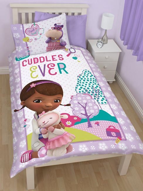 Disney Doc McStuffins Hugs Reversible Single Panel Duvet Cover and Pillowcase Set - Kids Bedroom