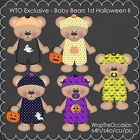 ECU-Baby Bear Halloween Set 2 Clipart