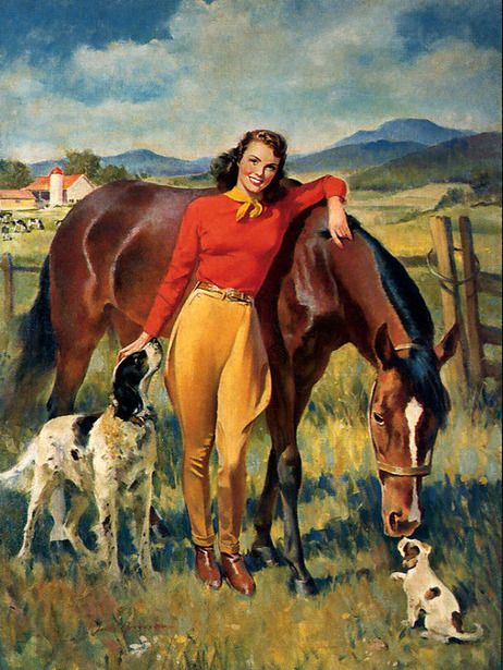 Woman With Horse And Dogs  Frederick Sands Brunner (1886 – 1954)