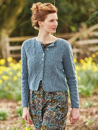 PETAL from Springtime Collection Six by Marie Wallin 8 handknit designs for women by Marie Wallin. A beautiful trans-seasonal collection of quintessential feminine knitwear featuring floral intarsias, fairisles, subtle lace and twisted stitch textures. Mainly using Rowan Felted Tweed, this collection is the ideal solution to the problem of what to wear on a sunny spring day when it's still chilly outside | English Yarns http://englishyarns.co.uk/rowan-marie-wallin-springtime.html