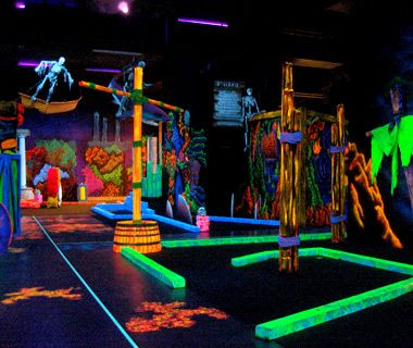 Glowing Greens, Portland, OR A pirate statue greets visitors to this 10,000-square-foot black-light course, which sticks with a tropical island theme and offers optional 3-D glasses