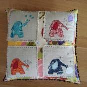 Elephant Applique 4 Seasons Pillow  - via @Craftsy