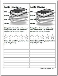 Book Review Bookmarks.  Love this idea.  Have kids write reviews.