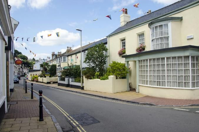 The Strand, the main street, Shaldon, Devon, England.