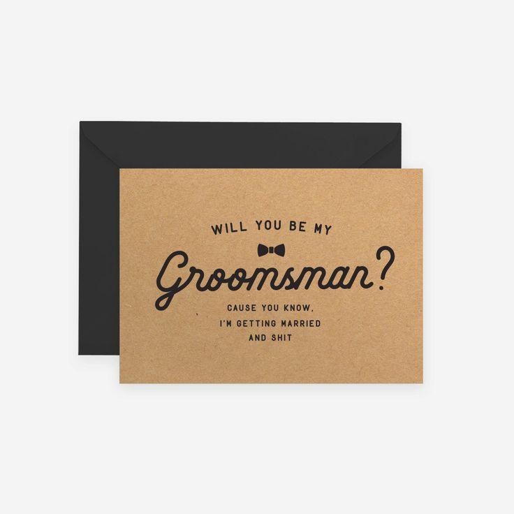 Will You Be My Groomsman Best Man Groomsmen Kraft Rustic Wedding Funny Shit Swear Bow Tie Officiant Usher MC by PaperAvenueShop on Etsy https://www.etsy.com/listing/486933927/will-you-be-my-groomsman-best-man