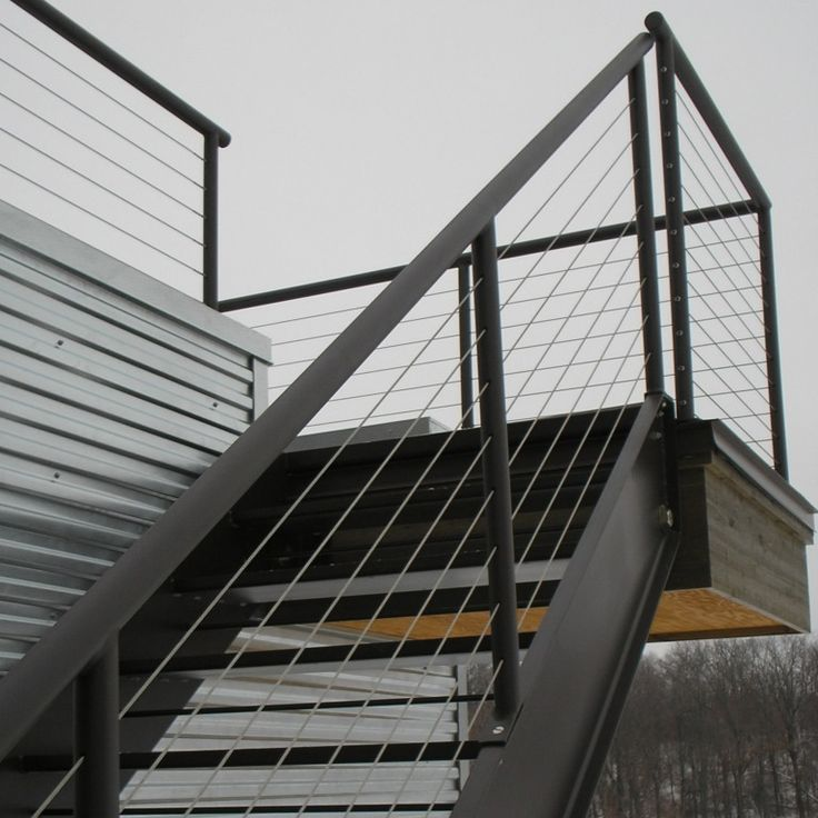 Black And Cable Stair Railing Google Search Exterior