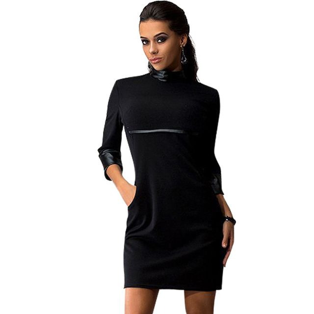 2016 Spring Women Sexy Dress Broadcloth Three Quarter Cotton Polyester PU Solid O-Neck Mini Club Party Women Dresses S M L XL  US $9.90 /piece  To Buy or Clayey Other Models Click On This Link  http://goo.gl/OCfUcW