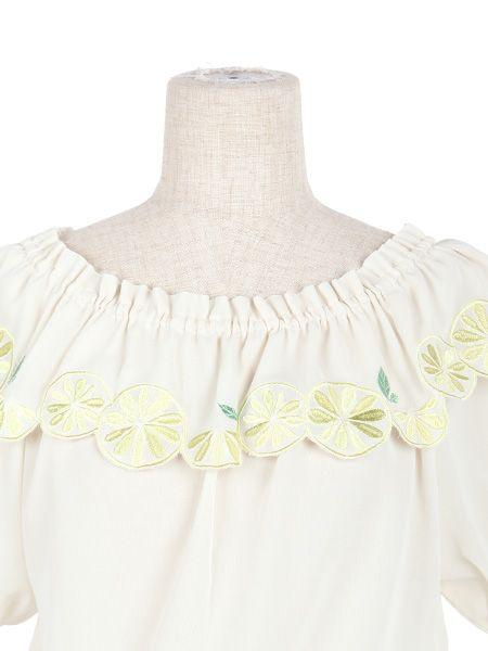 レモン刺繍オフショル半袖ブラウス/F i.n.t