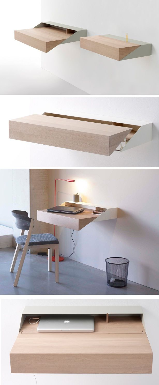 This interesting design is a woodworking challenge and could also be the design for a miter saw on sliding rails. Pulling the desk out  provides the extra space for full width cutting. Then return the shelf to the compact position.
