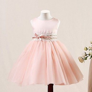 A-line+Short+/+Mini+Flower+Girl+Dress+-+Tulle+Sleeveless+Jewel+with+Buttons+/+Sequins+–+USD+$+56.99