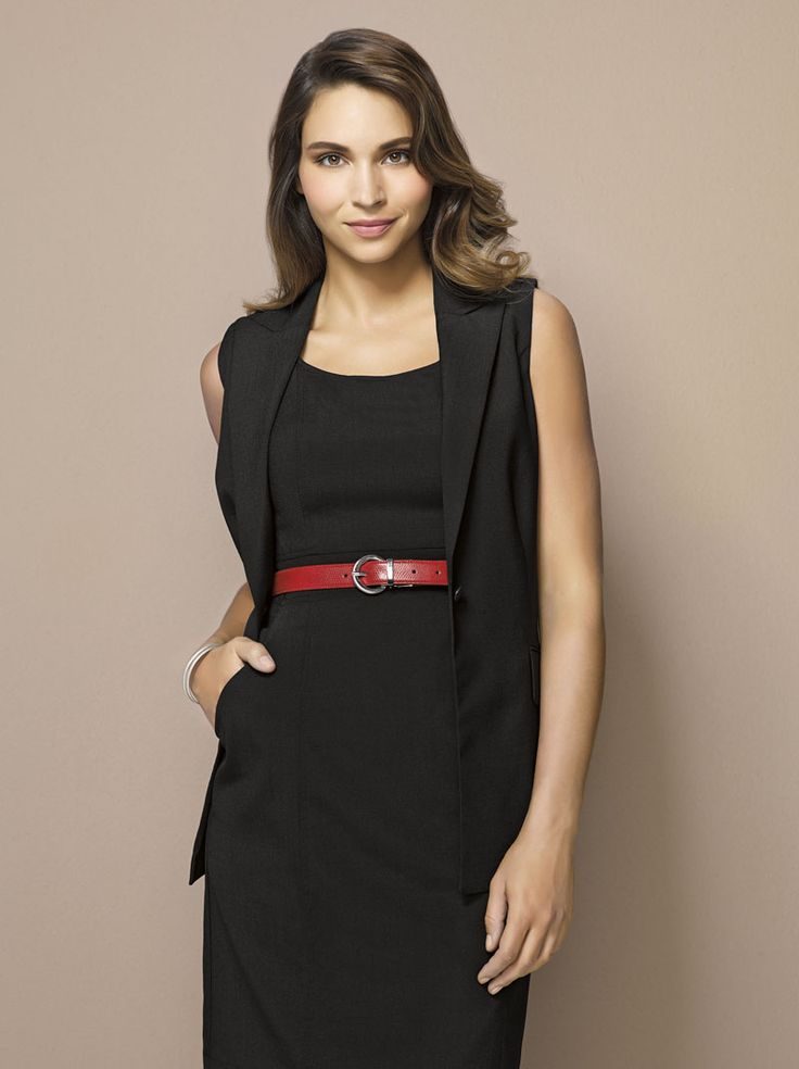 Wool Stretch Sleeveless Jacket and Dress #bizcorporates #woolstretch #boulevard #woolsuiting