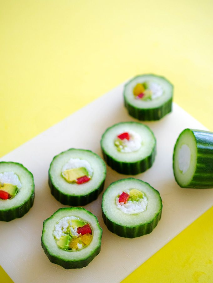 Cucumber sushi rolls with avocado and bell pepper. An easy, healthy alternative!