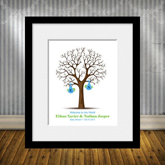 Thumbprint Tree For Twins, Twins Baby Shower Guest Book, Twins Keepsake Baby  Shower Poster