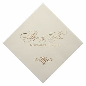 i love gold foil.  Personalized Foil Imprinted Wedding Napkins - Set of 100