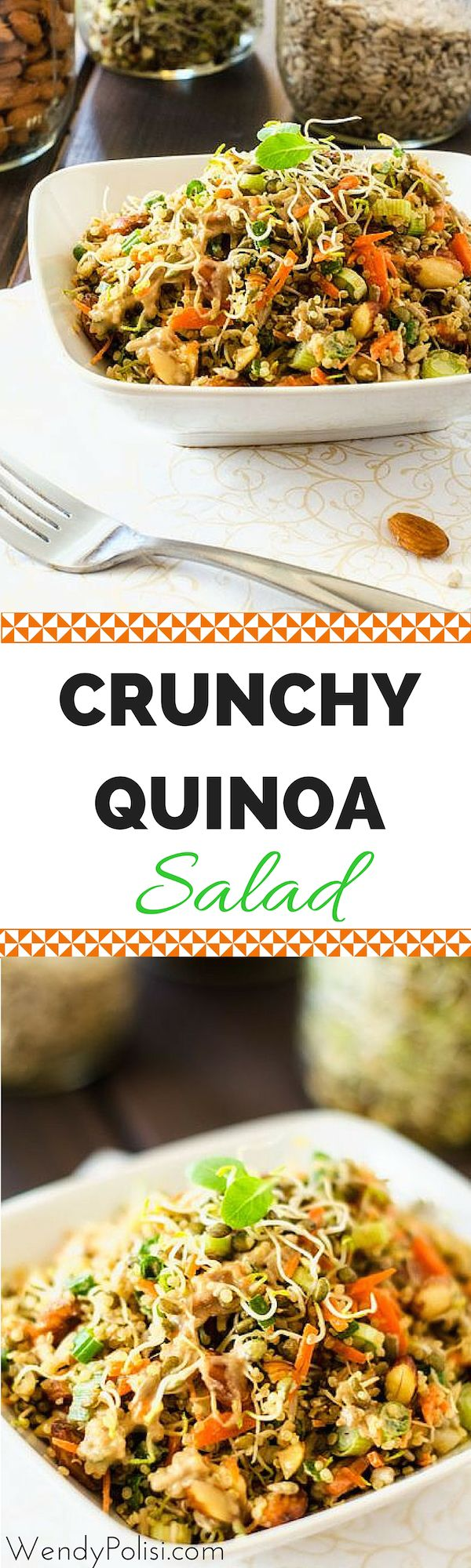 Crunchy Quinoa Salad with yummy almonds and sunflower seeds -- also fantastic in a wrap for a quick supper or breakfast on the go.