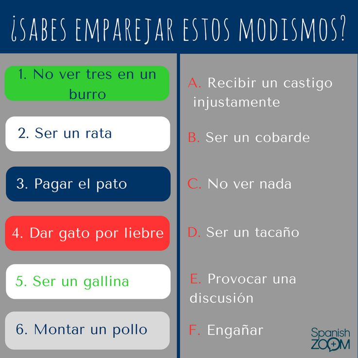 ¿Sabes cómo emparejar estos #modismos con su significado? ¡Intentalo! :)  Do you know how to match these #idioms with their meaning? Try it! :)  #zoom #languages #spanish #games #aprenderespañol #learnspanish #spanishzoom