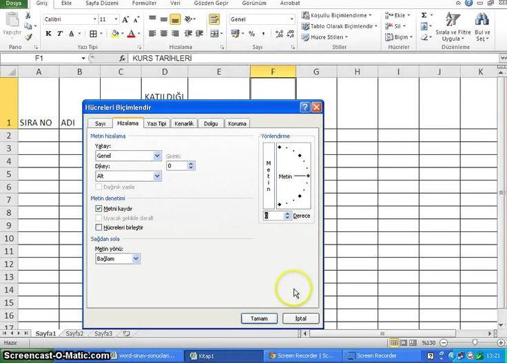 Excel'de Hizalama, Metin kaydırma , Hücre birleştirme, Yönlendirme http://www.fpajans.com
