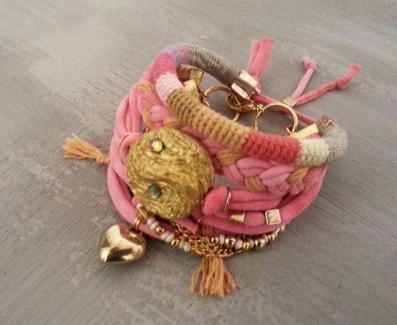Pulsera del corazón gitano pulsera, brazalete de oro rosa, pulseras bohemio, estilo Hippie, Indie joyas, pulseras, el acodar